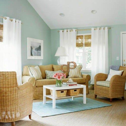 tường màu xanh nên chọn rèm màu gì