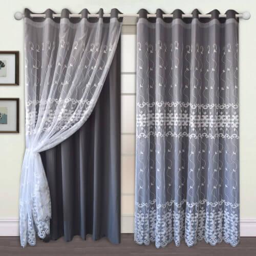 Mẫu rèm vải 2 lớp đẹp hiện đại vải trong lớp voan ngoài
