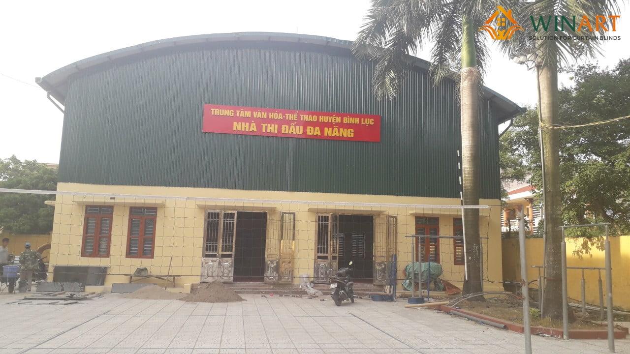 Hình ảnh bên ngoài nhà thi đấu huyện Bình Lục