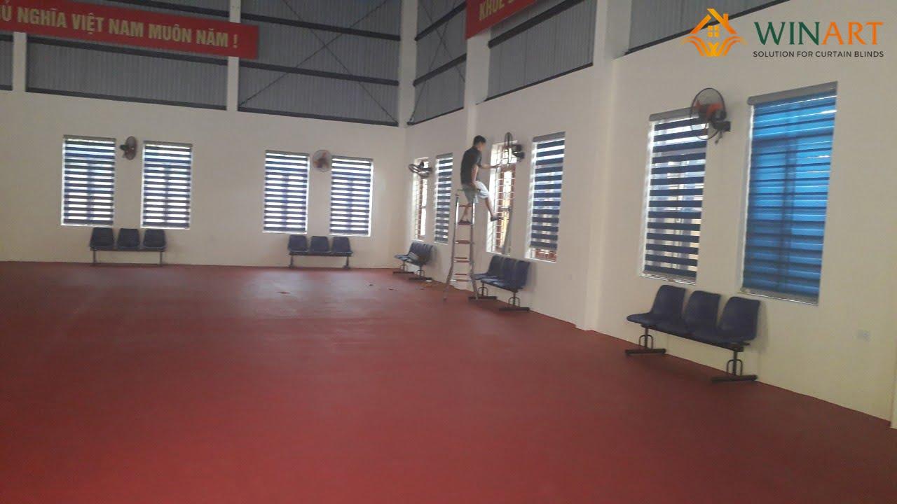 Lắp đặt rèm cầu vồng WinArt góc bên phải nhà thi đấu