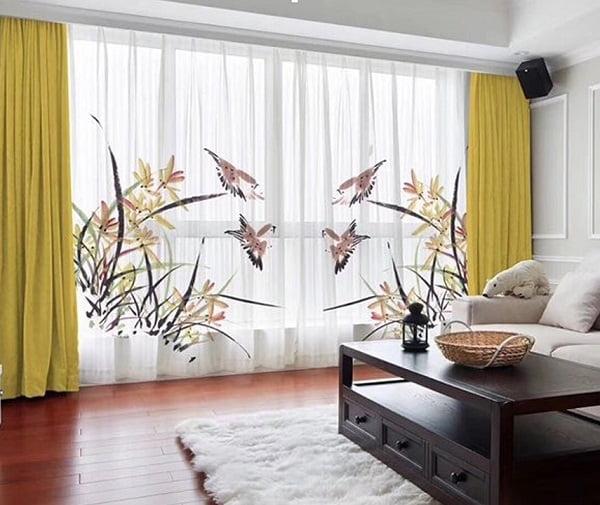 Rèm voan thêu đẹp với phong cảnh rực rỡ cho phòng khách sang trọng và đẳng cấp